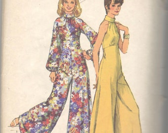 Simplicity 5570 1970s Misses Glamorous Halter Palazzo Jumpsuit Pattern Womens Vintage Sewing Pattern  Size 12 Bust 34 Or 10 Bust 32