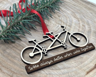 Bicycle Ornament // Custom Bicycle Ornament // Couples Personalized Ornament // Personalized Christmas Ornaments // Tandem Bicycle Ornament