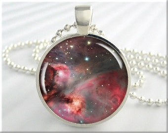 Orion Nebula Necklace, Picture Pendant, The Orion Space Nebula, Resin Charm, Round Silver, Space Geek Gift, Hubble Picture 407RS