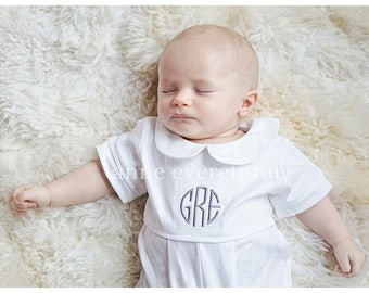 Baby Boy Coming Home Outfit- Baby Baptism Outfit-Pima Cotton Baby-Monogrammed White Romper-Elliott's Baby Boy Clothes- Boy Summer outfit