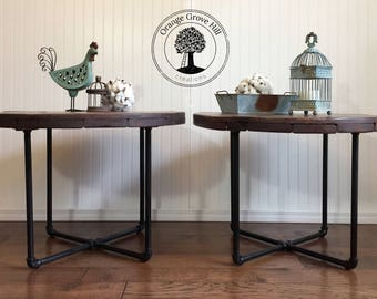 Rustic Industrial Handmade End Tables, Man Cave, Metal,