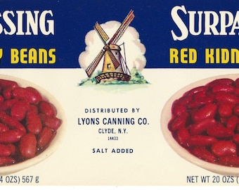 Surpassing Red Kidney Beans Vintage Can Label, 1950s