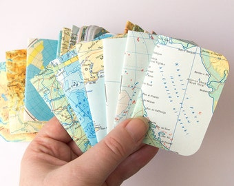 set of 6 notebooks, tiny recycled map notebook journal, wedding party favor, tiny notebook, mini notebook, small notebook stapled 2x3""