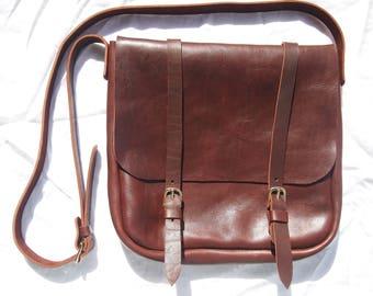 Brown Leather Crossbody Messenger Bag Satchel Handbag Buckle Purse Pull up Leather Handbag Veg Tan Leather