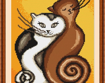 Twisted cats Stitch Pattern, Digital  Pdf , Modern, Easy  Counted Cross Stitch pattern in PDF  format, Painting,  Easy