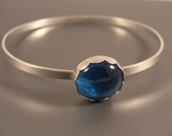 Sterling Silver Bangle Bracelet with Turquoise Fused Glass Cab