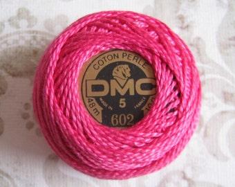 DMC Pearl Cotton Balls Size 5 - 602 Medium Cranberry