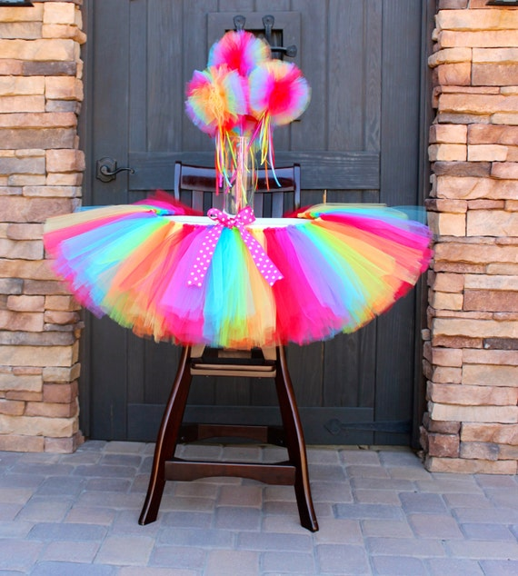 Rainbow High Chair Tutu Rainbow Tutu High Chair Decoration
