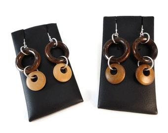 Dark Wood Hoop Earrings Gogo Dangles, Light and Dark Brown Wooden Hoop Earrings Sterling Silver, Brown Jewelry Wood Bohemian Earrings Dark