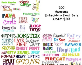 Must See 200 Of My Best Machine Embroidery Font Sets for the Crazy Low Price of 20 in HUS