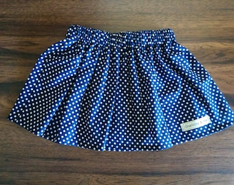 Girls skirt, Girls Navy and White Dots Gathered Waist Skirt, navy, spots