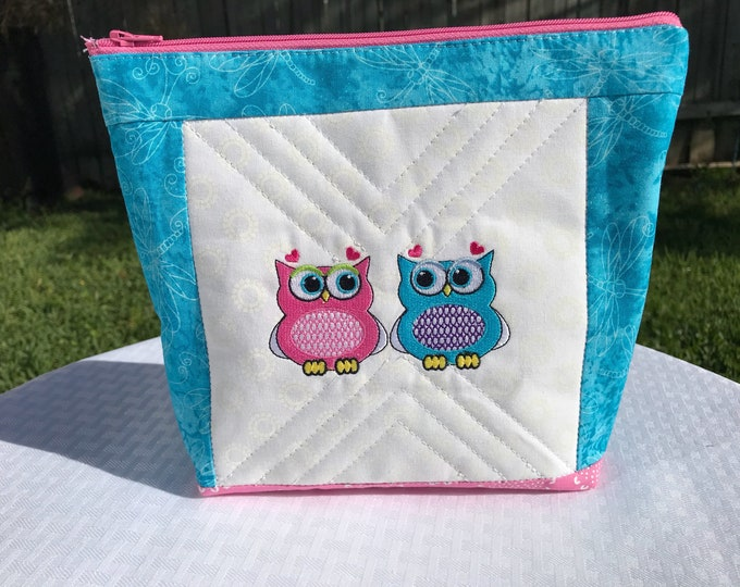Embroidered & Quilted Owl Zipper Pouch