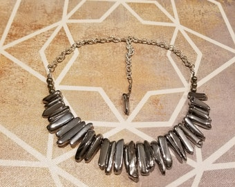 Silver Spiked Quartz Crystal Necklace
