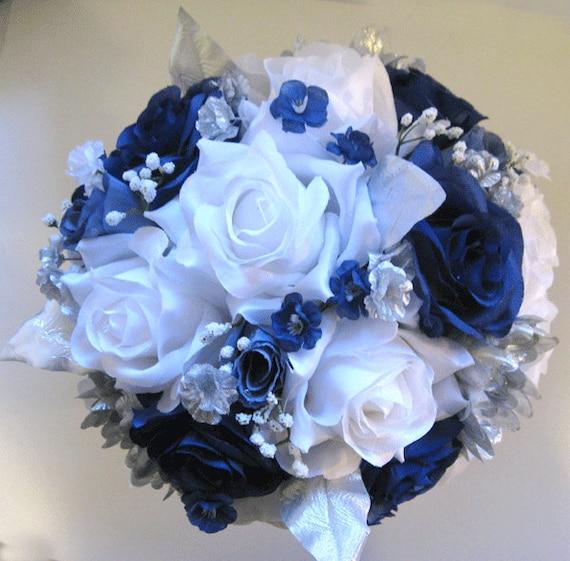 Wedding bouquet Bridal silk flowers 21 piece package Dark BLUE