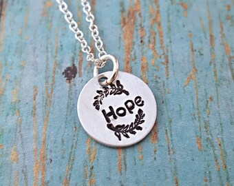 Hope Necklace - Hope - Hope Jewelry - Inspirational Necklace - Gift for Her - Word Necklace - Courage Necklace - Motivational Jewelry