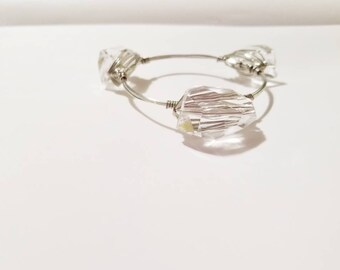 bangle bracelets, Stacking bangle, wire bangles, wire wrapped bangles, clear bangles, stackable bangles, backwoods beauty shop