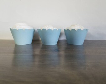 12 Count baby blue light blue  scallop cupcake wrappers! Blue baby shower scalloped cupcake wrapper
