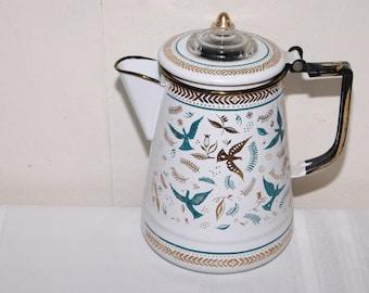 Vintage Enameled Birds Coffee Pot Tea