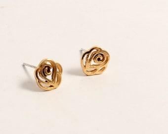 Elegant Little Rose Gold Brass silver stud earrings/Youth simple dainty diamond ear studs/everyday post earrings(SE019)