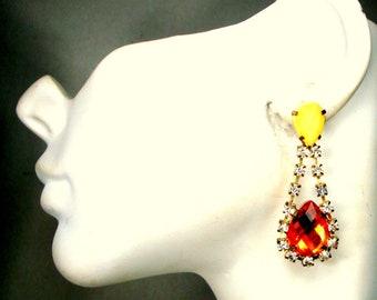 Amber & White Rhinestone Post Dangle Earrings, 1980s 2 Color Faux Amber n Diamond Glimmers,  Flashy Teardrop Hanging Earring