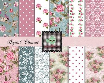 Digital Scrapbook Vintage Paper, Pink and Teal Digital Paper, Invitation Digital Papers, Digital Scrapbook Paper, No. V7.21