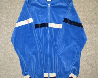 VTG Christian Dior Velour Blue Track Jacket size XL