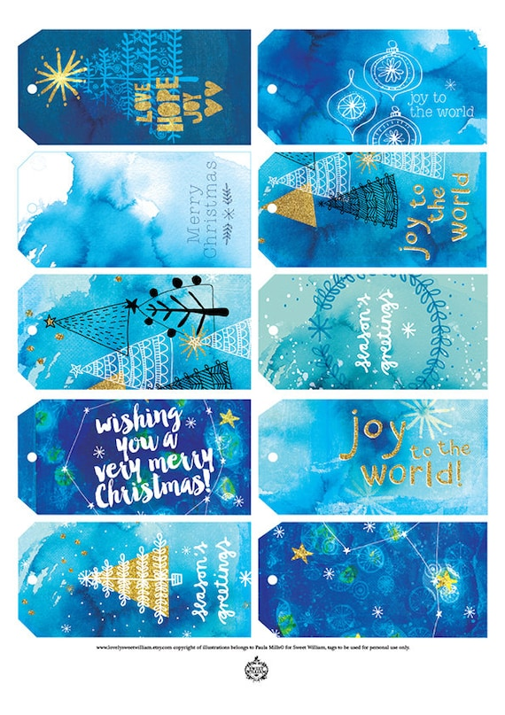 Christmas Gift Tags - Digital Download Set of 10 Sweet William illustrative tags, blue ink, Christmas