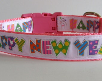 Colorful Happy New Year Dog Collar