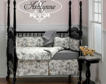 Name And Initial Wall Decal - Script Name With Shabby Chic Fleur de Lis Border For Baby Girl Nursery Or Teen Girls Room GN042