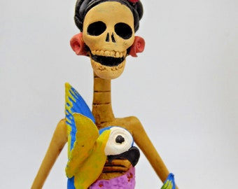 """FRIDA KAHLO CATRINA handmade clay figurine day of the dead mexican folk art 10"""""""