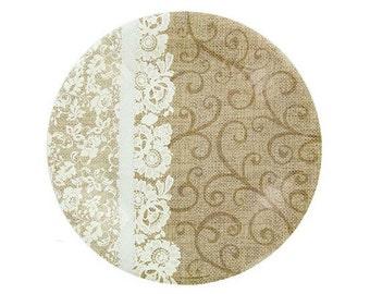 Set of 12 Burlap & Lace Dessert Wedding Party Paper Plates  - Shabby Chic / Rustic Decor / Farmhouse Fresh