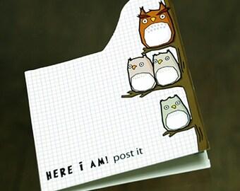 Kawaii Here I Am Owl Sticky Index Memo Pad