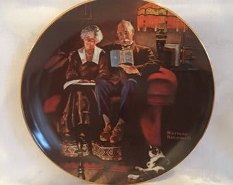"Vintage ""Evening'sEase"" by Norman Rockwell collectible plate."