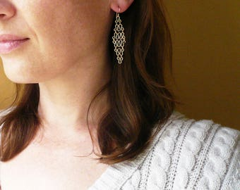 Gold Chandelier Earrings. Handmade Gold Filled Geometric Earrings. Long Gold Earrings. 14K Gold Filled Wire Earrings. Gold Diamond Earrings.