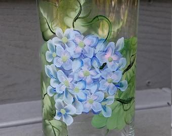 Hydrangia bud/flower vase, hand painted vase, hydrangea cylinder vase, flower vase, cylinder flower vase, blue flower vase