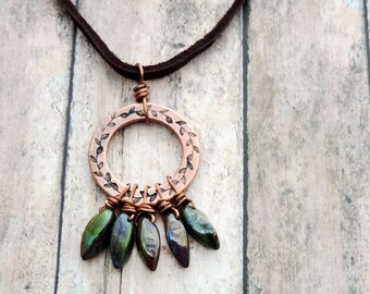 Copper Laurel Leaf Circle Pendant Necklace with Five Green Czech Glass Dagger Beads on Leather Cord