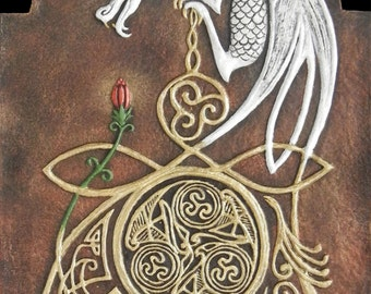 Celtic Dragon - Cast Paper - Fantasy art - Celtic Dragon - White Dragon - Drake - Draco - Celtic Drake