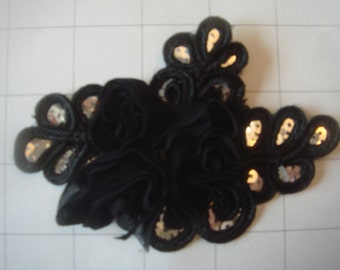 "Black Flower and Sequins Braided Applique 4 1/2"" by 3 1/4"""