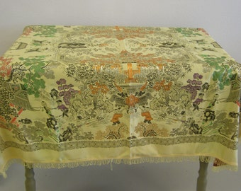 """Vintage Asian Silk Fringed Piano Scarf tablecloth shawl. Approx 45"""" x45"""""""