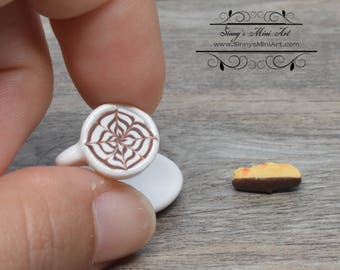 1:12 Dollhouse Miniature Cappuccino with Chocolate Dipped Biscotti on Saucer BD F346