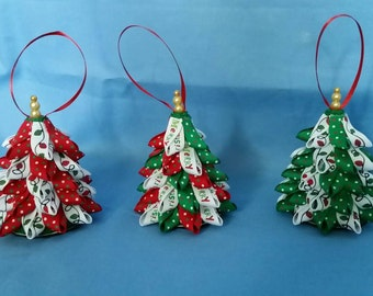 Mini Tree Ribbon Christmas Ornaments