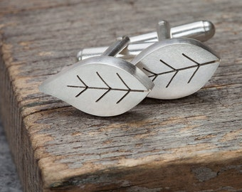 Pierced silver leaf cufflinks, Silver leaf cufflinks, Botanical cufflinks, Leaf cufflinks, Mens Jewelry