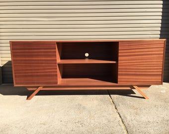 NEW Hand Built Mid Century Inspired TV Stand. Mahogany 2 door and center shelf with angled leg base. Buffet / Credenza