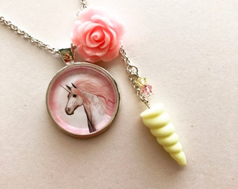 Pink Unicorn, Unicorn Necklace, Kawaii Unicorn, Pastel Unicorn, Multi Charm Necklace, Fairy Kei, Sweet Lolita, Kawaii Necklace