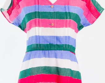 Vintage 1980s candy striped dress (Size 16 Aust/ 12 USA/ 16 UK)