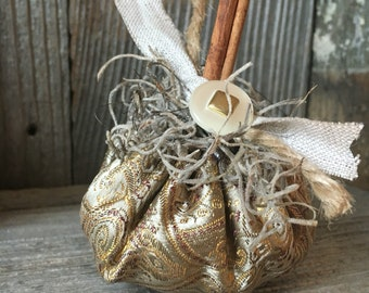 Shabby Chic Fabric Pumpkin #2