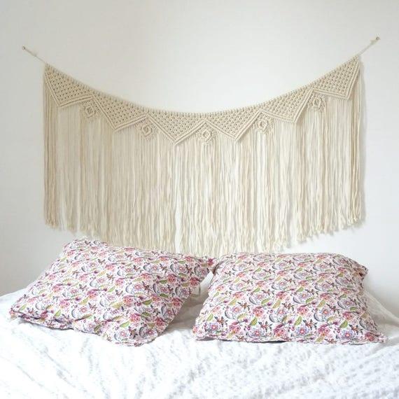 t te de lit en macrame macrame mural guirlande macrame. Black Bedroom Furniture Sets. Home Design Ideas