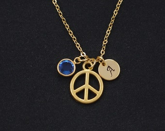 peace sign necklace, gold filled, initial necklace, birthstone necklace, gold peace sign charm, anti war,peace symbol jewelry,peace necklace