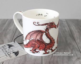 Welsh Dragon Mug, Red Dragon Mug, Dragon Coffee Mug, Dragon tea cup, Dragon Gift, Welsh Dragon Mug, Welsh Dragon, Dragon bar ware, Fantasy