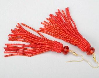 Bead earrings pink Long Tassel beaded earrings peach gift for girlfriend ideas boho earrings pink Tassel earrings Blue Black red sister law